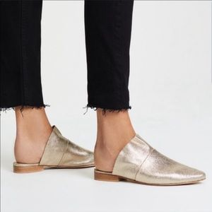 Free People Sienna Gold Ruffle Leather Mule